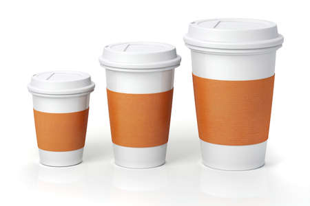taza de café: 3d Render- tazas de café sobre fondo blanco Foto de archivo
