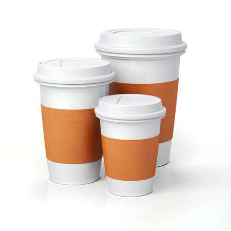 tazas de cafe: 3d Render- tazas de caf� sobre fondo blanco Foto de archivo