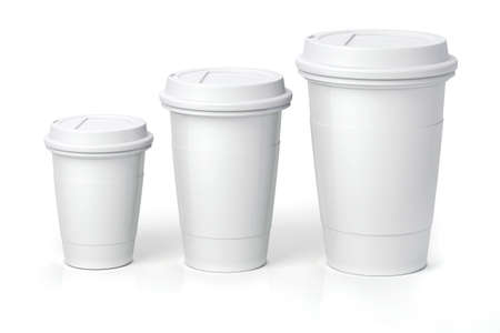 3d render- coffee cups on white background