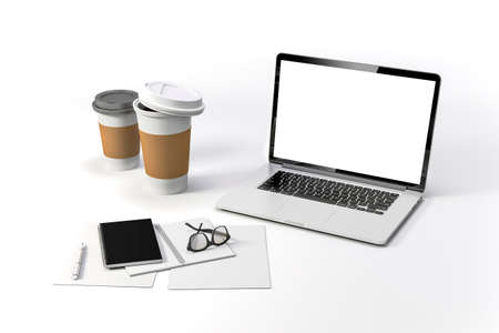 3d render-workplace setup with laptop documents and coffee cups