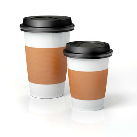 3d 흰색 배경에 커피 컵을 render- 스톡 콘텐츠
