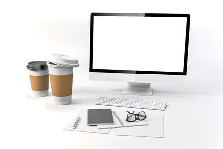 portables: 3d render-workplace setup with laptop documents and coffee cups