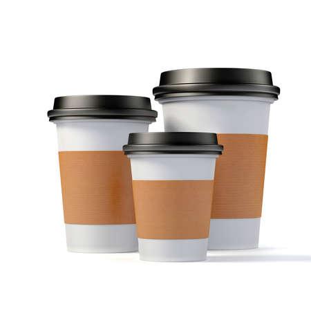 3d render- tazze di caffè su sfondo bianco