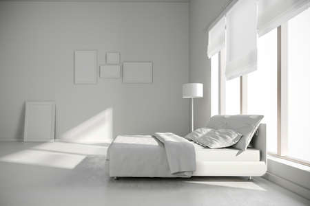 bedroom wall: 3d interior bedroom render Stock Photo