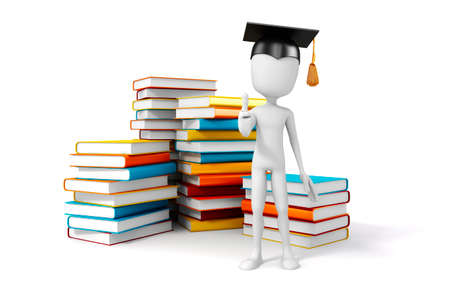 cartoon reading: 3d man with laptop and books, education concept