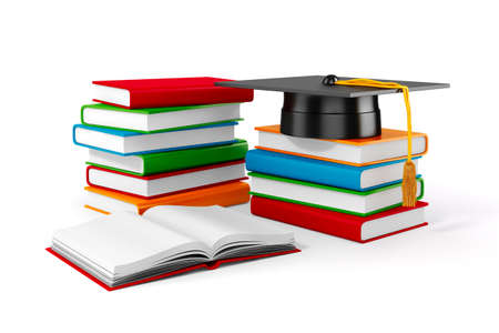 student with books: 3d books and student cap on white background