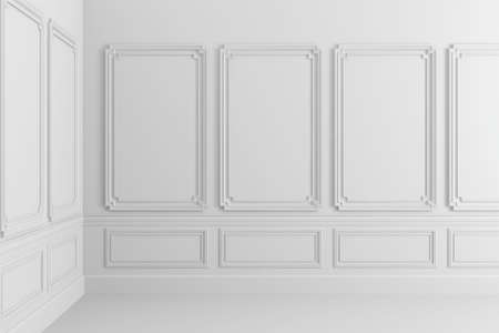 decor: 3d render of white classic interior