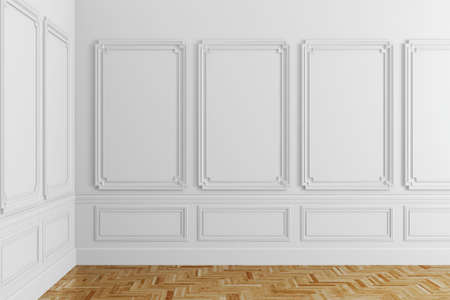 interior window: 3d render of white classic interior with wooden floor