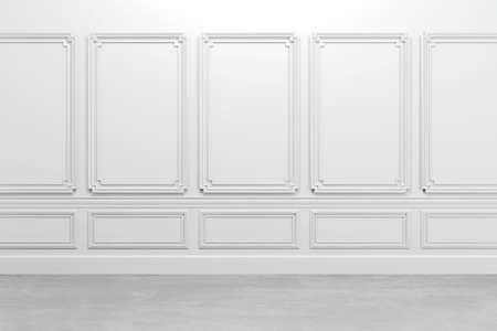 interior design: 3d render of white classic interior