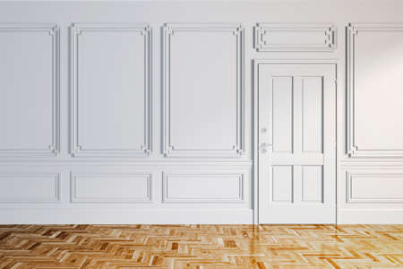 wood room: 3d render of white classic interior with wooden floor