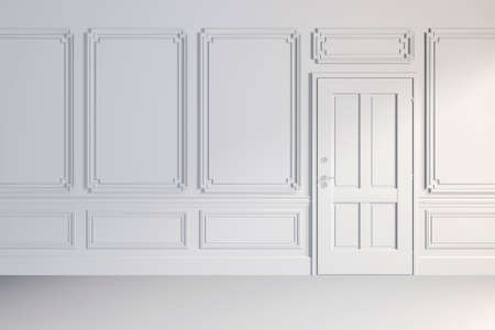 white wall: 3d render of white classic interior