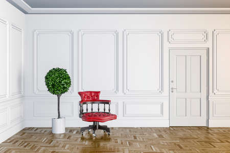 wall decoration: 3d render of classic interior with wooden floor
