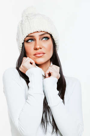 brunette girl: Beautiful brunette girl model in winter clothes Stock Photo