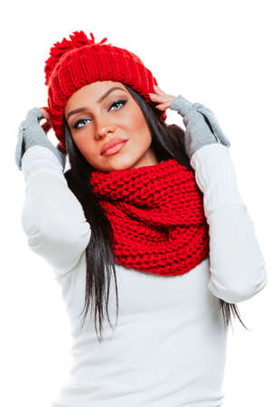 christmas woman: Beautiful brunette girl model in winter clothes Stock Photo