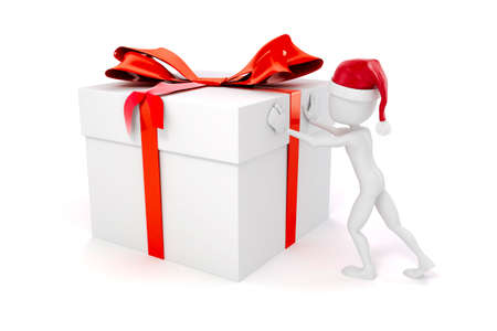 man pushing: 3d man pushing a big present box