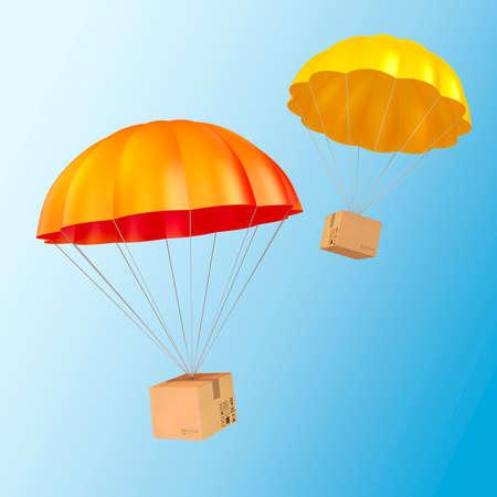 fallschirm: 3d bunten Fallschirm und Gegenwart Lizenzfreie Bilder