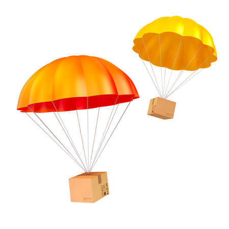 3d colorful parachute and present Stock Photo