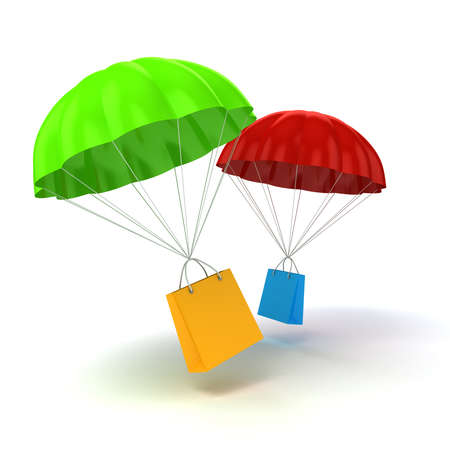 special service: 3d parachute and shopping bag