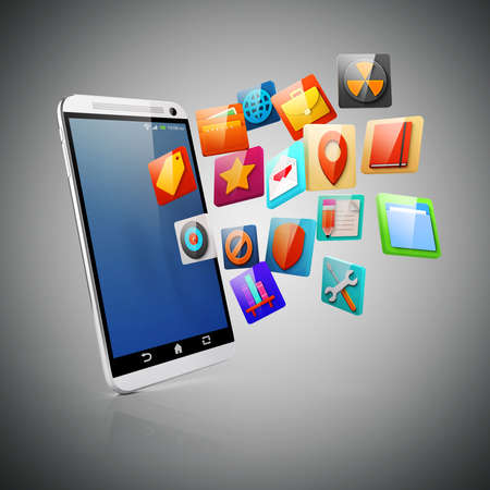 smart phone: 3d smart phone and colorful icons