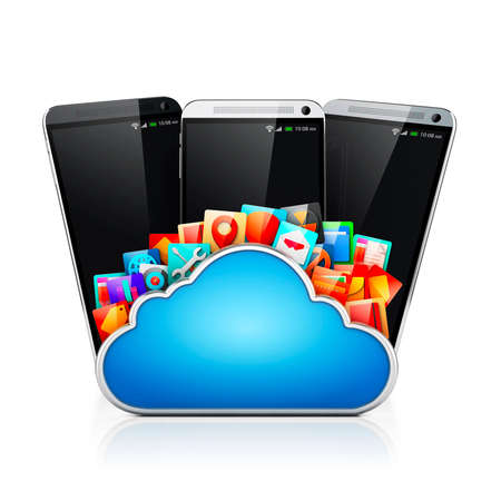 electronics: 3d mobile phone and cloud apps Stock Photo