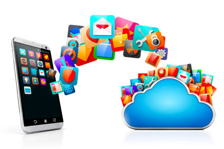 interface design: 3d mobile phone and cloud apps Stock Photo