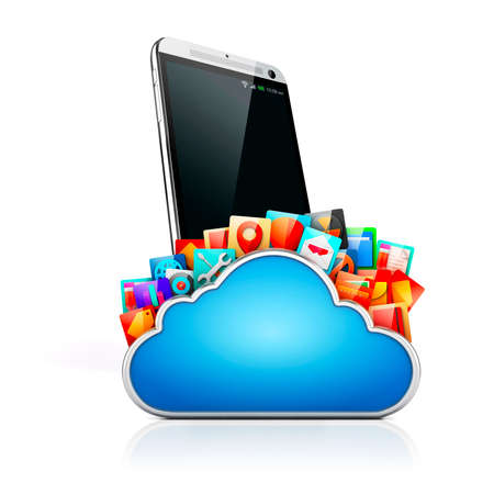 mobile apps: 3d mobile phone and cloud apps Stock Photo