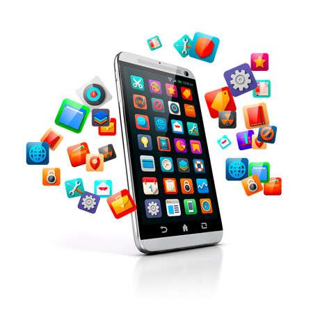 3D-Smartphone auf weißem Hintergrund