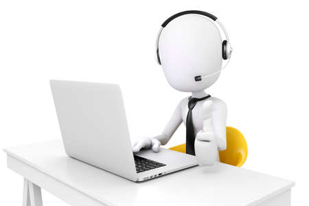 white men: 3d man and laptop, call center business concept