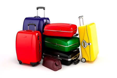 luggage travel: 3d render - tourism and travel concept