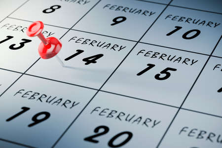 meeting agenda: 3d valentine day  calendar and pin, concept Stock Photo