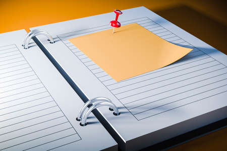 blank note: 3d agenda with blank sticky note, close up Stock Photo