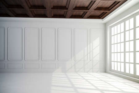 3d render of beautiful interior with white walls and wood ceiling setup Stock Photo