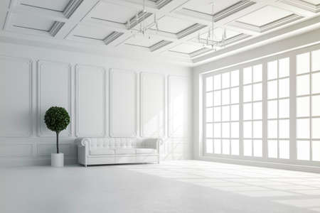 dark room: 3d render of beautiful interior with white walls and wood ceiling setup Stock Photo