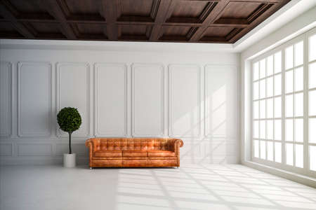 large house: 3d render of beautiful interior with white walls and wood ceiling setup Stock Photo
