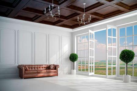 big windows: 3d beautiful vintage white interior with big windows Stock Photo