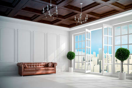 design interior: 3d beautiful vintage white interior with big windows Stock Photo