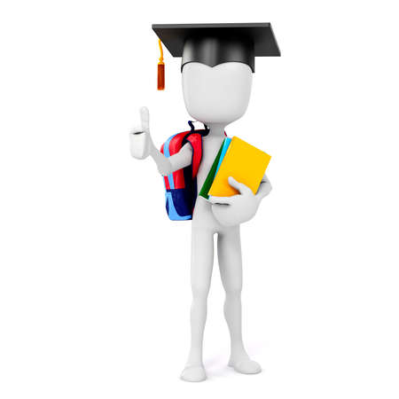 smart kid: 3d man holding some books, education concept