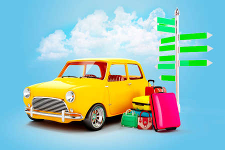 tours: 3d cartoon car and luggage, travel concept