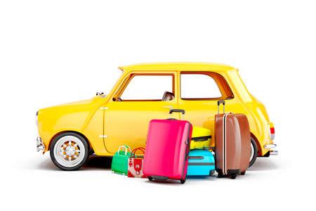 3D 만화 자동차와 가방, 여행 개념