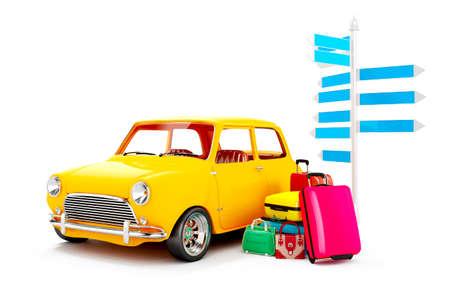 familia viaje: coche de dibujos animados en 3D y el equipaje, el concepto de viaje Foto de archivo