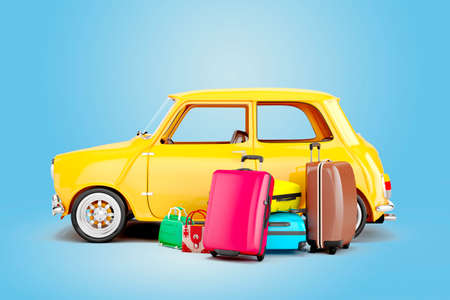 3D-cartoon auto en bagage, reisconcept Stockfoto