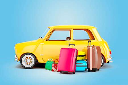 Coche de dibujos animados en 3D y el equipaje, el concepto de viaje Foto de archivo - 53208691
