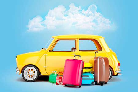 valigia: auto dei cartoni animati 3D e bagagli, concetto di viaggio