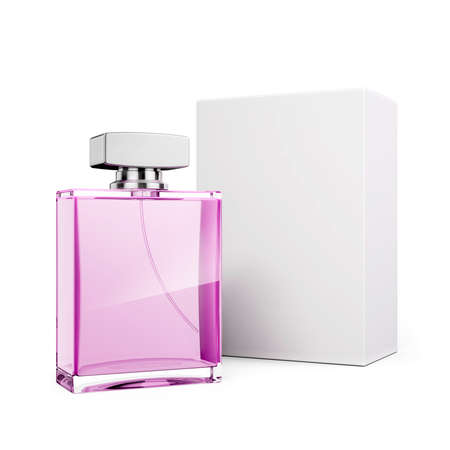 glass bottle: 3d perfume bottle on white background Stock Photo