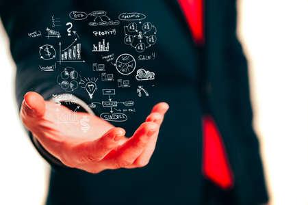 the view option: Businessman holding a business plan diagram concept