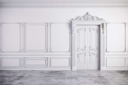 living room wall: 3d render of beautiful vintage white interior