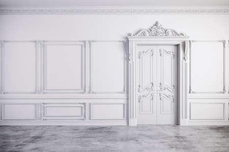 3D render van mooie vintage wit interieur