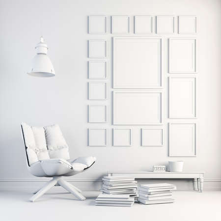 gallery: 3d render of beautiful white interior