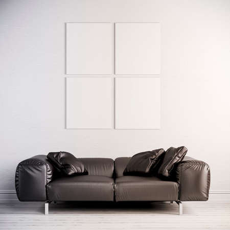 3d interior render  with leather couch and blank frame on white wall