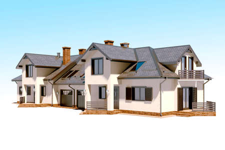 residential: 3d beautiful residential house render Stock Photo